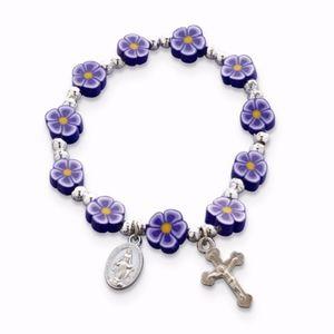 Purple Fimo Bead Cross Stretch Bracelet